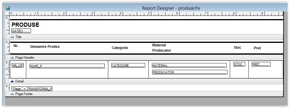 pozitionarea etichetelor intr-un raport foxpro