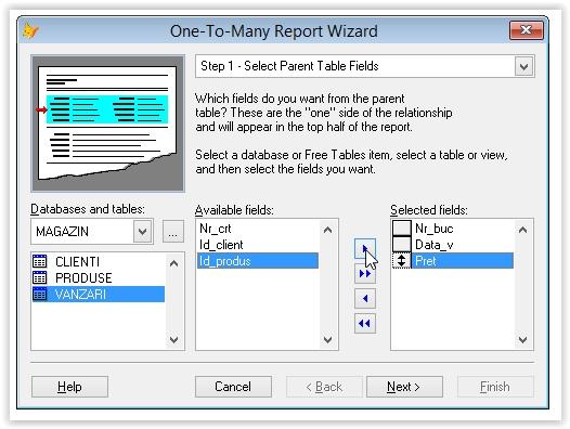 alegerea tabelei parinte pentru generarea unui raport