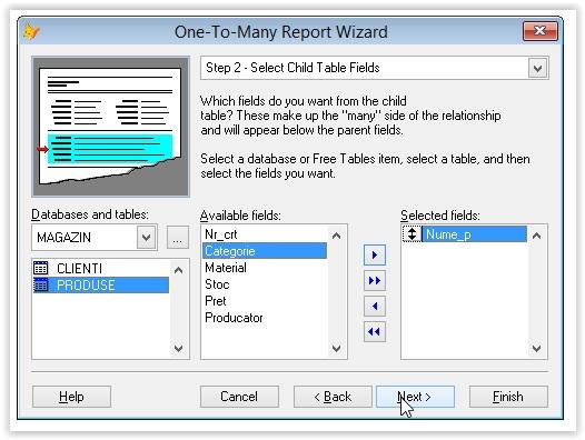 alegerea tabelei secundare pentru generarea raportului one-to-many