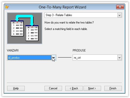 specificarea relationarii dintre tabele intr-un raport foxpro