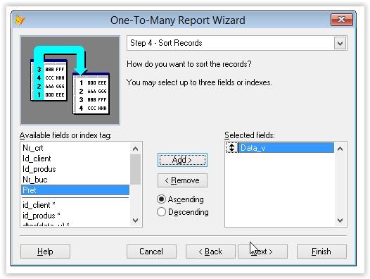 sortarea inregistrarilot intr-un raport one-to-many