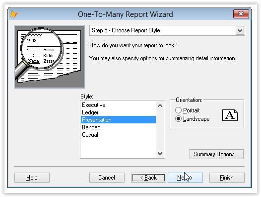 alegerea unui stil automat pentru raportul foxpro