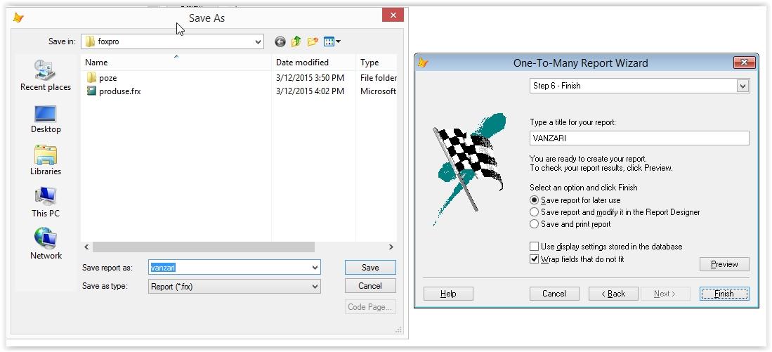salvarea pe hard-disk a raportului